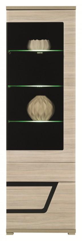 Vitrína Tes - Vitrína pravá, dveře, police, LED (jilm, korpus a fronty)