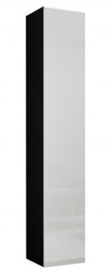 Vitrína Vigo - Vitrína závěsná 180, 1x dveře (černá mat/bílá VL)
