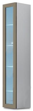 Vitrína Vigo - Vitrína závěsná 180, 1x dveře sklo (bílá/latte lesk)