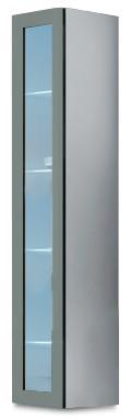 Vitrína Vigo - Vitrína závěsná 180, 1x dveře sklo (bílá/šedá lesk)