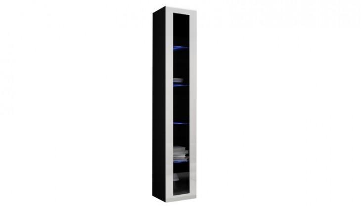 Vitrína Vigo - Vitrína závěsná 180, 1x dveře sklo (černá mat/bílá VL)