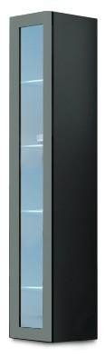 Vitrína Vigo - Vitrína závěsná 180, 1x dveře sklo (šedá/šedá lesk)