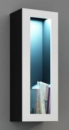Vitrína Vigo - Vitrína závěsná, 1x dveře sklo (černá mat/bílá VL)