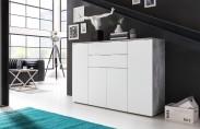 Viva - Obývací komoda velká (cement šedá/bílá)