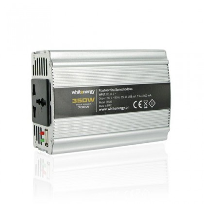 Whitenergy měnič napětí DC/AC 12V / 230V, 350W, USB 06579