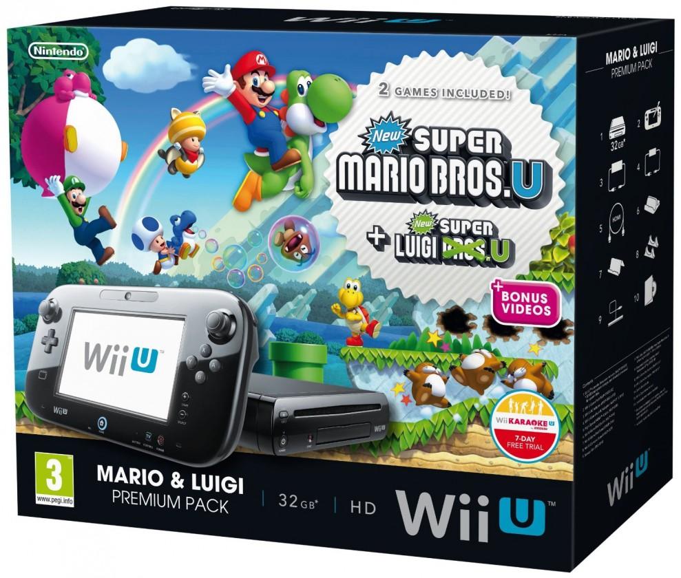 Wii U Premium Pack Black + Mario + Luigi