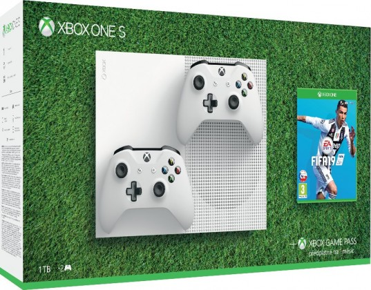 Xbox ONE S, 1TB, bílá + druhý ovladač + FIFA 19 234-00607