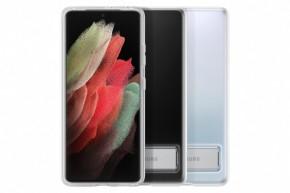 Zadní kryt Samsung S21 Ultra, integrovaný stojánek, průhledná