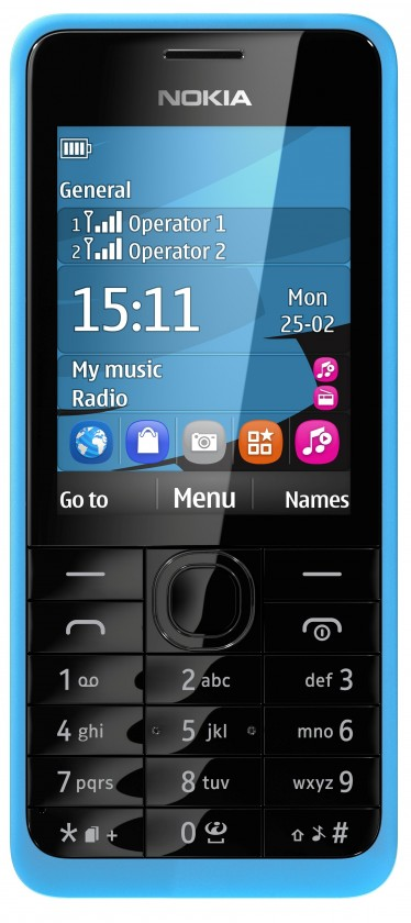 Základní telefon Nokia 301 (Dual SIM) Cyan