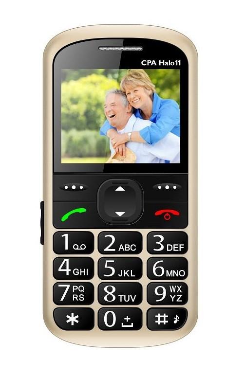 Základní telefon Telefon pro seniory CPA Halo 11, zlatá