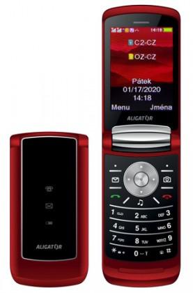 Základní telefon Tlačítkový telefon Aligator DV800, červená
