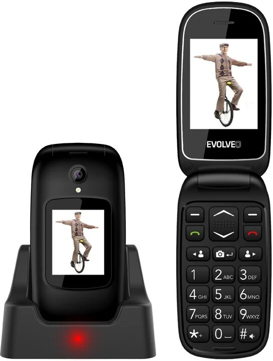 Základní telefon Tlačítkový telefon Evolveo EasyPhone FD, véčko, černá
