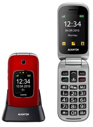 Základní telefon Tlačítkový telefon pro seniory Aligator V650, červená