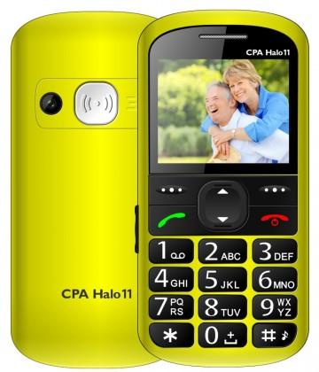 Základní telefon Tlačítkový telefon pro seniory CPA HALO 11, žlutá