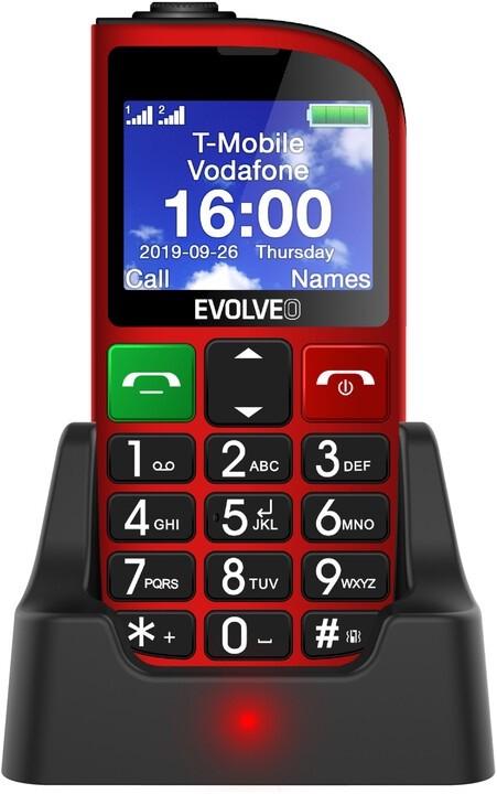 Základní telefon Tlačítkový telefon pro seniory Evolveo EasyPhone FM, červená