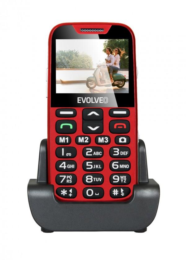 Základní telefon Tlačítkový telefon pro seniory Evolveo EasyPhone XD, červená