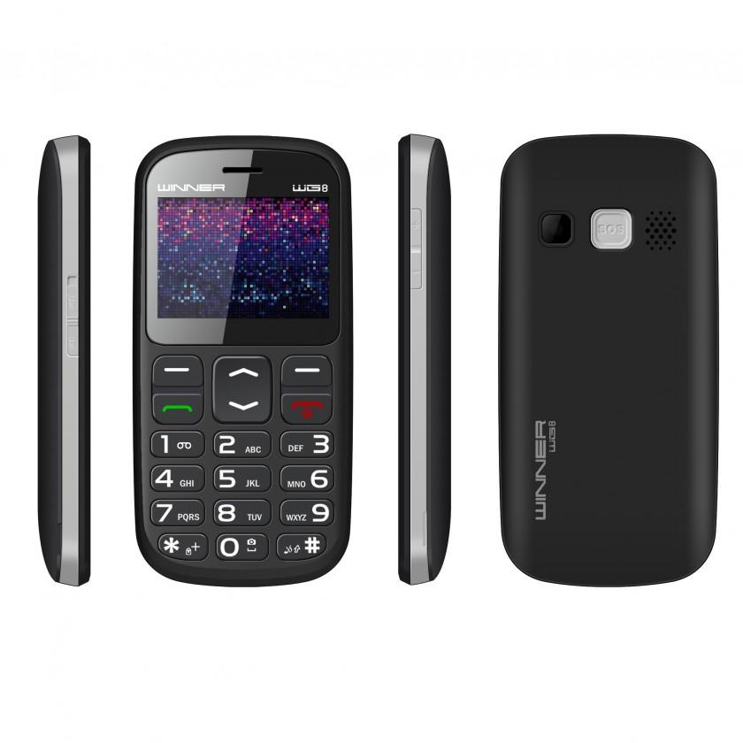Základní telefon Tlačítkový telefon pro seniory Winner WG8, černá