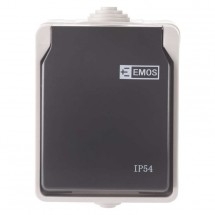 Zásuvka nástěnná Emos IP54, šedo-černá