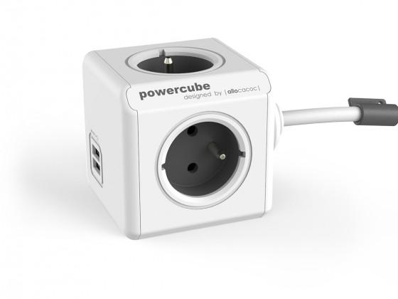 Zásuvka, rozdvojka Napájecí adaptér PowerCube Extended 4 zásuvky, 2x USB, 1,5m