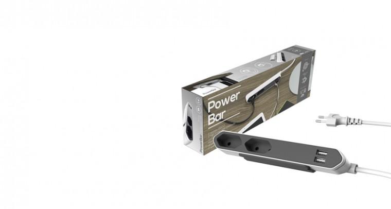 Zásuvka, rozdvojka Napájecí kabel prodlužovací Powerbar USB, 2 zásuvky,2x USB 1,5m