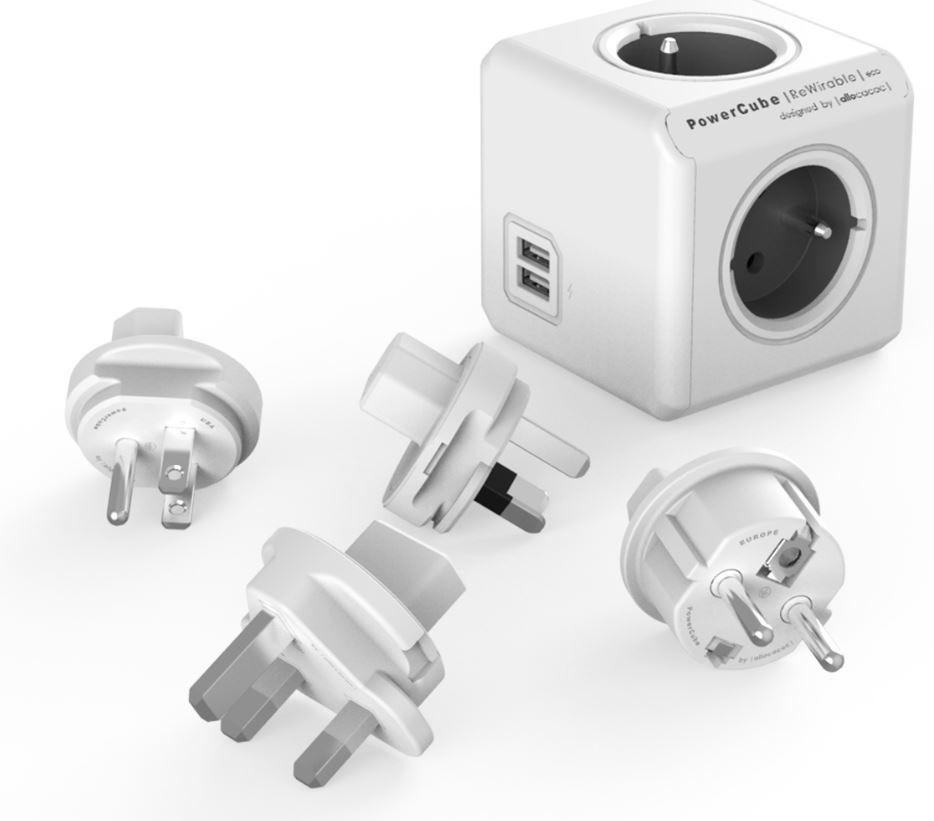Zásuvka, rozdvojka PowerCube REWIRABLE USB + Travel Plugs rozbočka 4 zásuvka