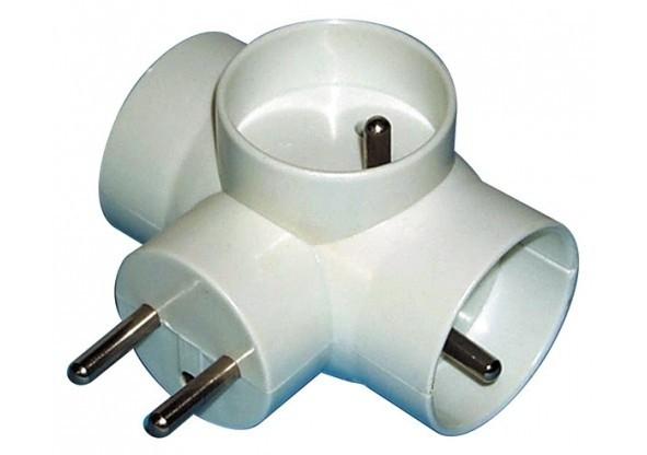 Zásuvka, rozdvojka Rozbočovací zásuvka Emos P0024, 3xkulatá, bílá