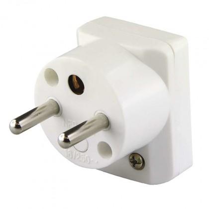 Zásuvka, rozdvojka Vidlice úhlová pro prodlužovací kabel Emos P0035, bílá