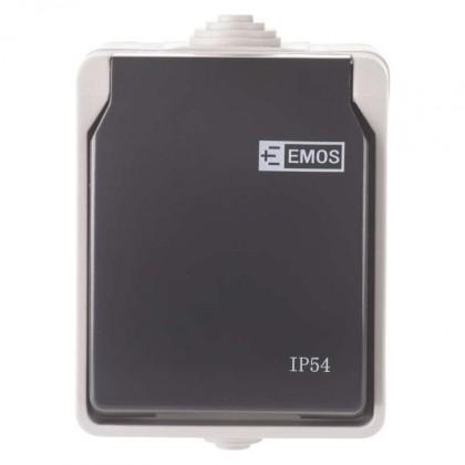 Zásuvka, rozdvojka Zásuvka nástěnná Emos IP54, šedo-černá