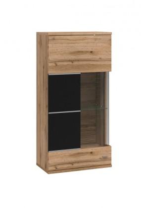 Závěsná skříňka Alberto - závěsná vitrína,1dvířka,levá(dub wotan/černý supermat)