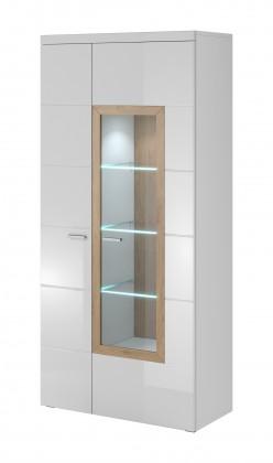 Závěsná skříňka Box In - Vitrína 2 dveře, 1 dveře prosklenné