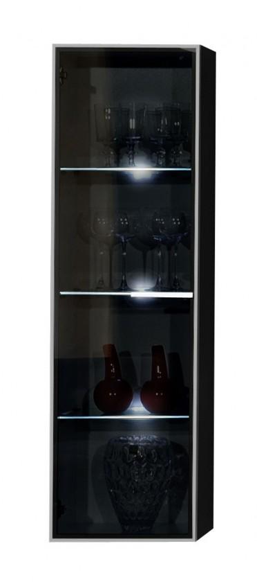 Závěsná skříňka Game - Závěsný prvek (černá/šedé sklo PG)