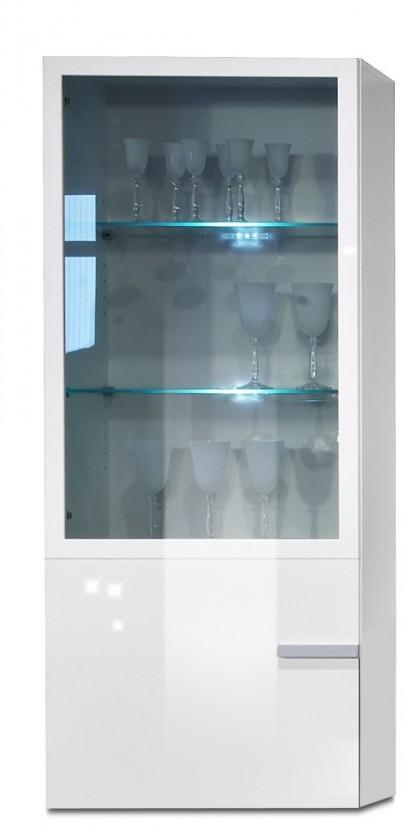 Závěsná skříňka Linea - závěsný prvek, 60 cm (bílá/bílá lak HG/stříbrná)