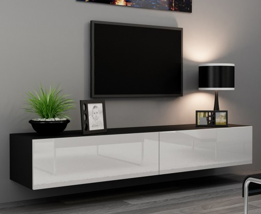 Závěsná skříňka Vigo - TV komoda 180 (černá mat/bílá VL)