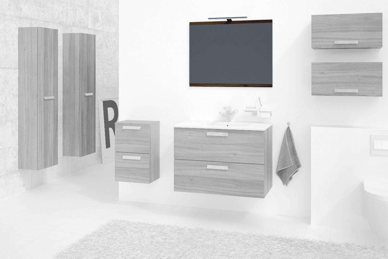 Zlevněné koupelnové vybavení Montpellier - Zrcadlo 80 cm (ořech) - II. jakost