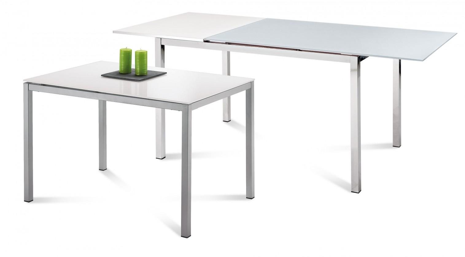 Zlevněné kuchyně, jídelny Full - Jídelní stůl (saténový hliník, bílá matná) - II. jakost