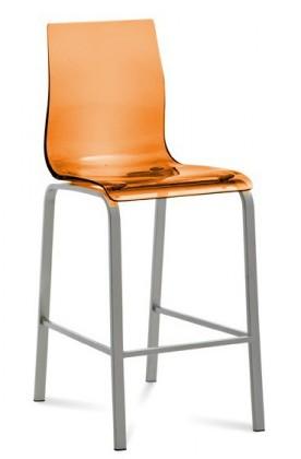 Zlevněné kuchyně, jídelny Gel - Barová židle (oranžová transparentní) - II. jakost