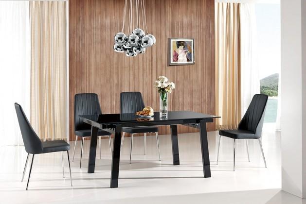 Zlevněné kuchyně, jídelny Jídelní stůl Benedikt (sklo - černá,ořech) - II. jakost