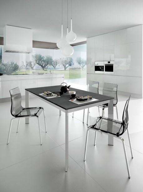 Zlevněné kuchyně, jídelny Universe 110 - Jídelní stůl (šedá břidlice, hliník) - II. jakost