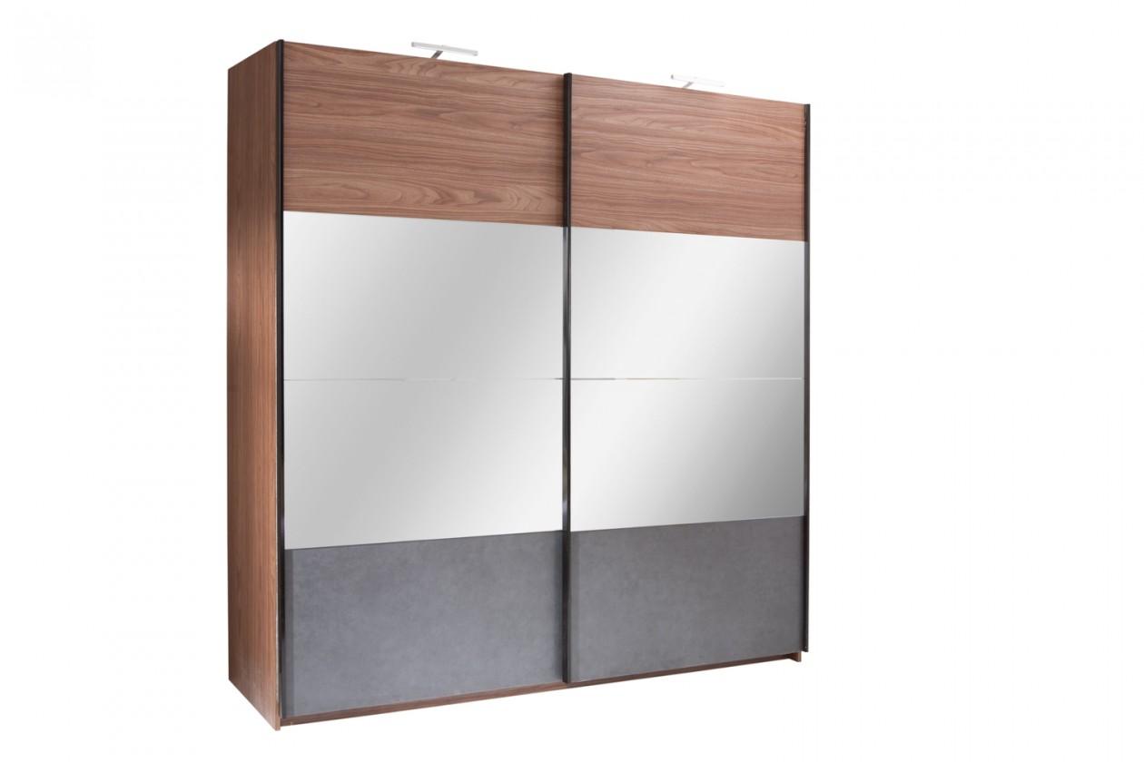 Zlevněné ložnice Skříň Renato - 200/219/67 (ořech/grafit) - II - jakost