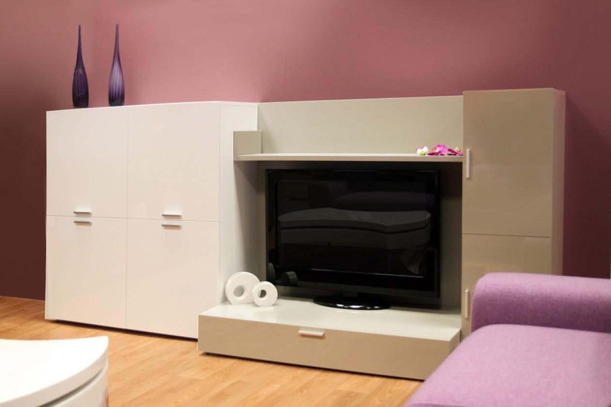 Zlevněné obývací pokoje Fizzy 05 - Obývací stěna (Bianco/Titanio) - II. jakost