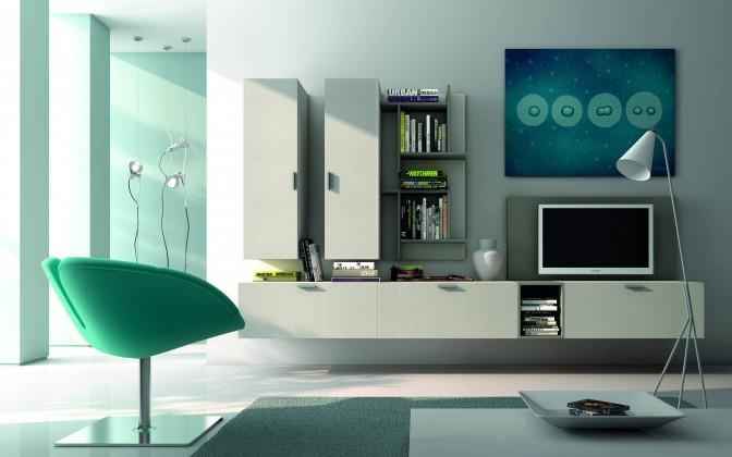 Zlevněné obývací pokoje Fizzy 11 - Obývací stěna (lak mat bílá / šedá) - II. jakost