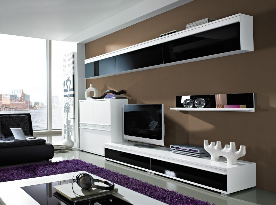 Zlevněné obývací pokoje Freestyle - Obývací stěna, set GW (bílá/černá,bílá) - II. jakost
