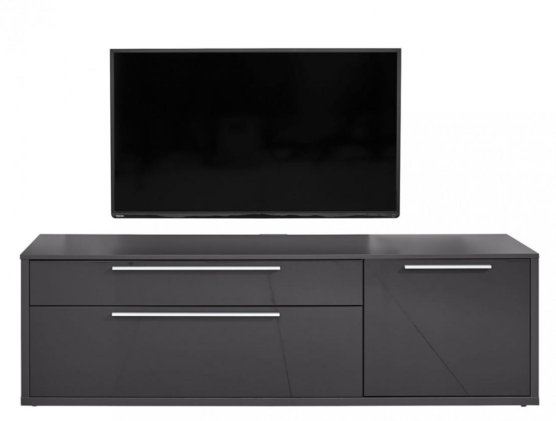 Zlevněné obývací pokoje Gamble - TV stolek 570154 (antracit/antracit lesk) - PŘEBALENO