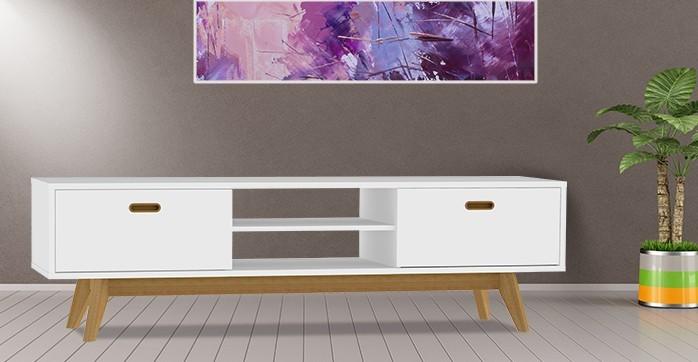 Zlevněné obývací pokoje Komoda BESS 2162-001(bílá/dub) - II. jakost