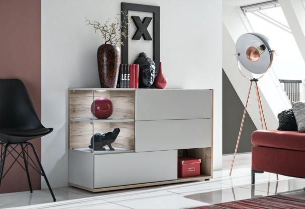 Zlevněné obývací pokoje Komoda Silk (perla gray, dub wellington) - II. jakost