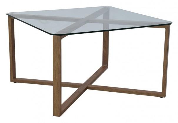 Zlevněné obývací pokoje Konferenční stolek Cleo čtverec (sklo, kov) - PŘEBALENO