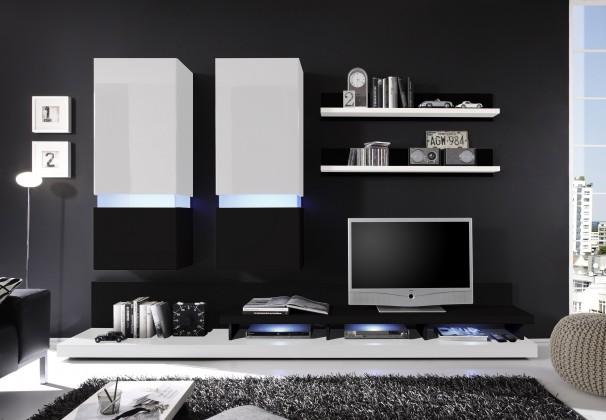Zlevněné obývací pokoje Obývací stěna Frisco (Bílá/černá VL) - II. jakost