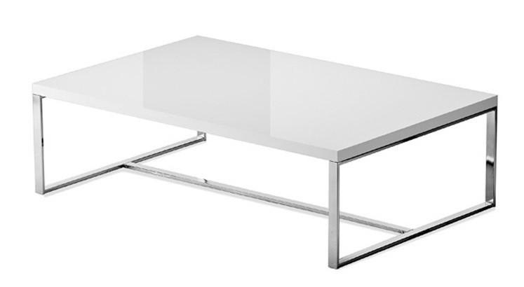 Zlevněné obývací pokoje Sushi-C - Konferenční stolek (bílá, chrom) - II. jakost