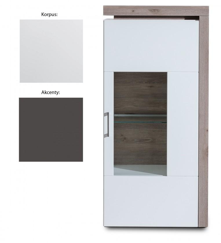 Zlevněné obývací pokoje Vitrína Broke Typ 04 bílá arctic, grafit - II. jakost