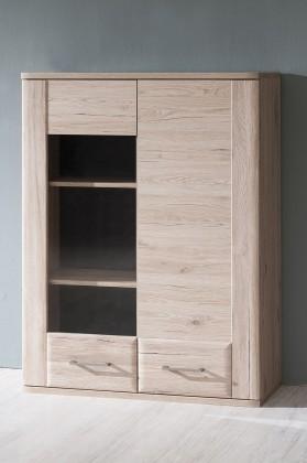 Zlevněné obývací pokoje Vitrína Canby TYP 22 (san remo sand) - II. jakost